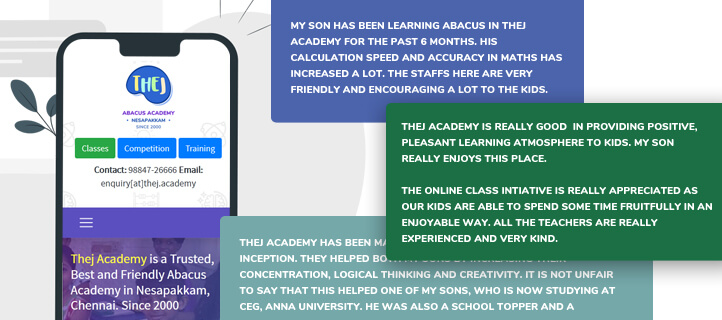 Thej Academy Parent's testimonials from Benefits of Learning Abacus