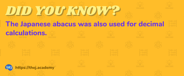 Did you Know? The Japanese abacus was also used for decimal calculations.