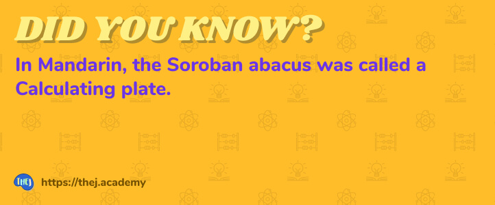 Did you Know? In Mandarin, the Soroban abacus was called a Calculating plate.