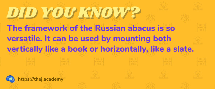 Did you Know? The framework of the Russian abacus is so versatile. It can be used by mounting both vertically like a book or horizontally, like a slate.